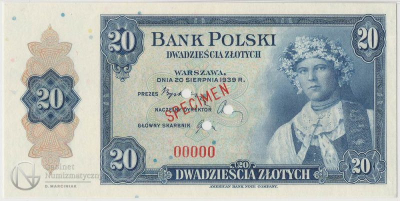 Awers banknotu 20 złotych 1939 SPECIMEN