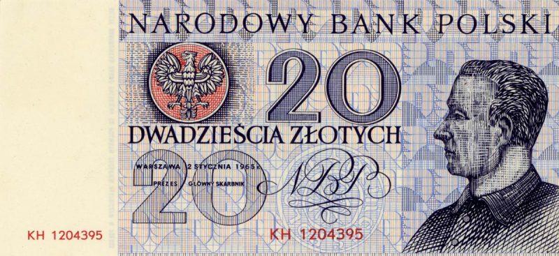 Awers banknotu 20 złotych 1965 z serii Miasta Polskie wersja 1