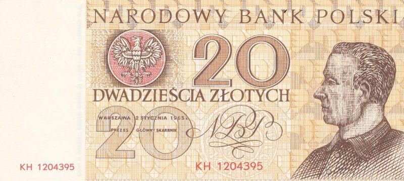 Awers banknotu 20 złotych 1965 z serii Miasta Polskie wersja 2