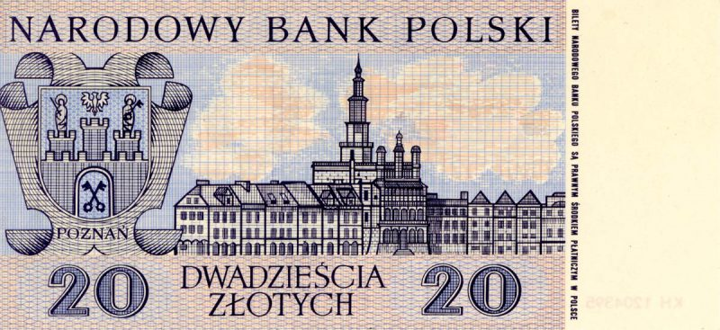 Rewers banknotu 20 złotych 1965 z serii Miasta Polskie wersja 1
