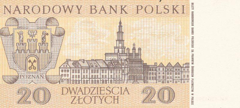 Rewers banknotu 20 złotych 1965 z serii Miasta Polskie wersja 2