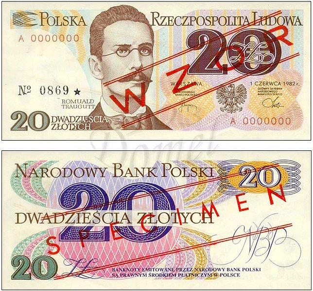 Wzór 20 złotych 1982 z Romualdem Trauguttem