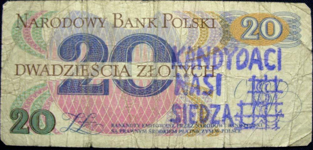 20 złotych 1982 ze stemplem kandydaci nasi siedzą