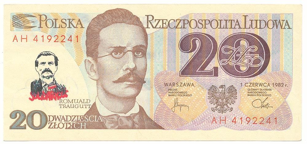 20 złotych 1982 ze stemplem Lech Wałęsa Solidarność