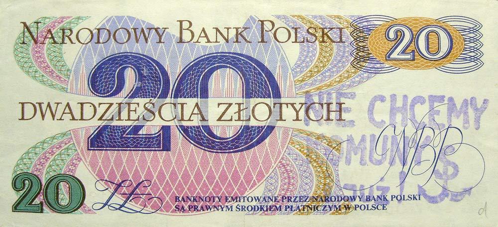 20 złotych 1982 ze stemplem nie chcemy komuny i już