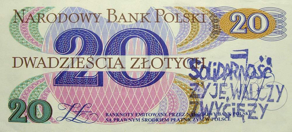 20 złotych 1982 ze stemplem Solidarność żyje walczy zwycięży