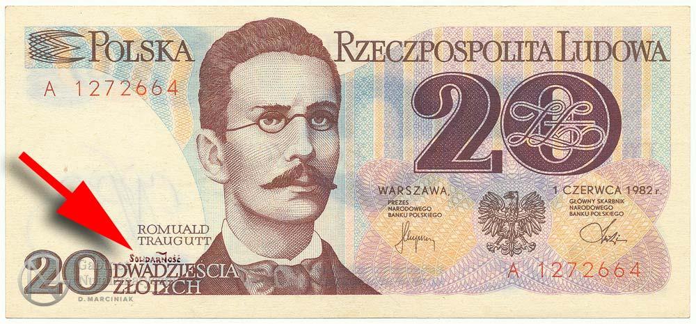 20 złotych 1982 ze stemplem Solidarność