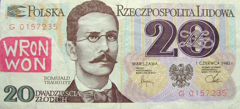 20 złotych 1982 ze stemplem Wron won