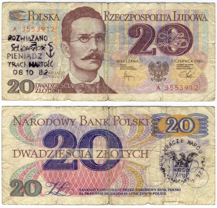 20 złotych 1982 ze stemplem wrona kracze naród płacze