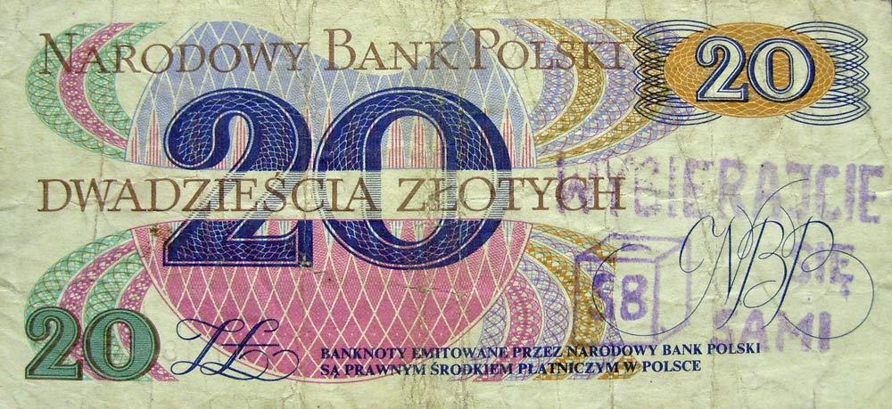 20 złotych 1982 ze stemplem wybierajcie się SB sami