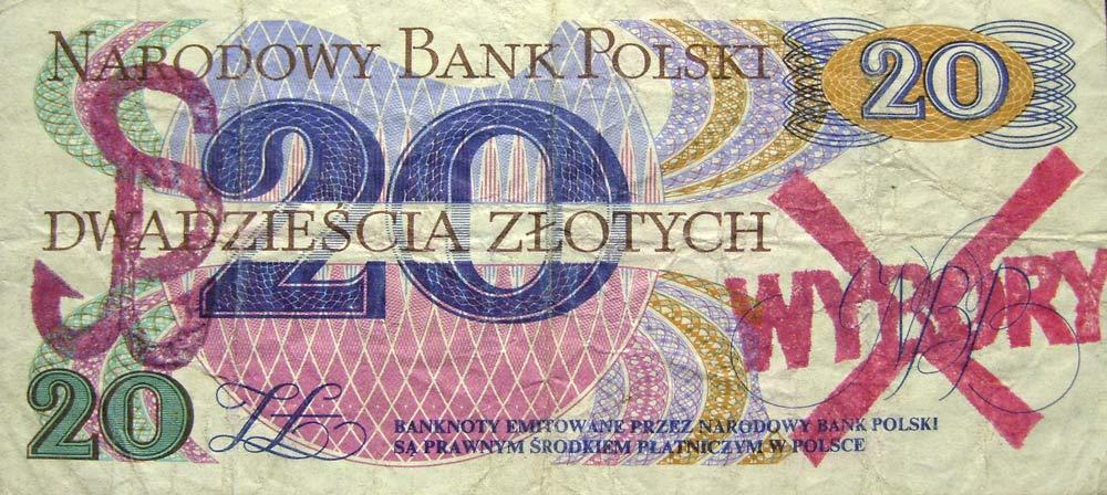 20 złotych 1982 ze stemplem wybory