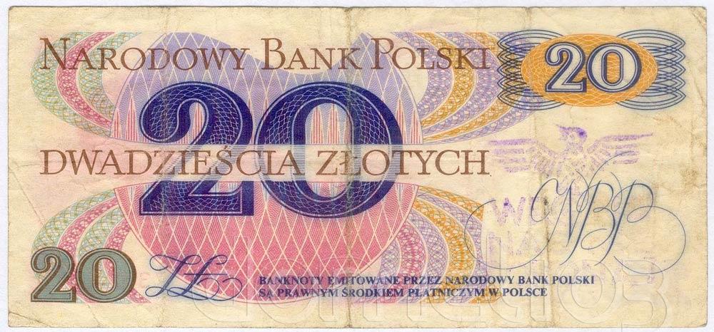 Banknot PRL 20 złotych ze stemplem wrona