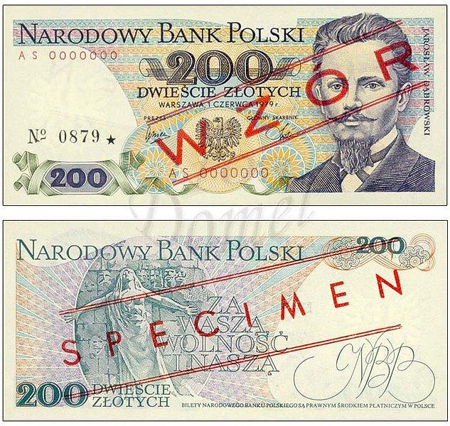 Wzór 200 złotych 1979 z Jarosławem Dąbrowskim