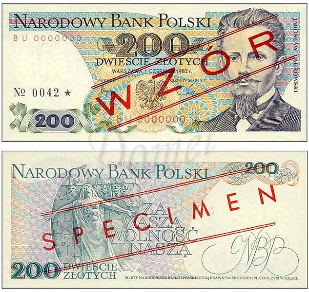 Wzór 200 złotych 1982 z Jarosławem Dąbrowskim