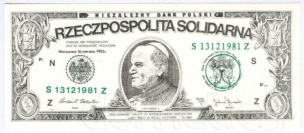 Awers 200 złotych 1983 Jan Paweł II Rzeczpospolita Solidarna