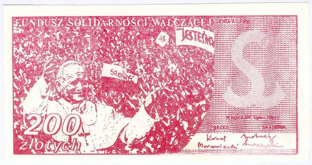 Awers 200 złotych 1984 z Janem Pawłem II Fundusz Solidarności Walczącej