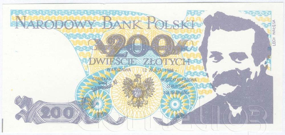 Awers 200 złotych 1984 z Lechem Wałęsą