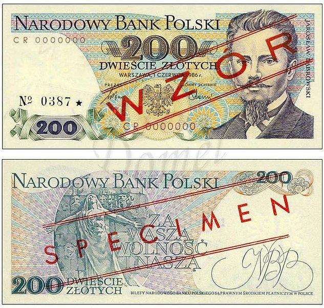 Wzór 200 złotych 1986 z Jarosławem Dąbrowskim