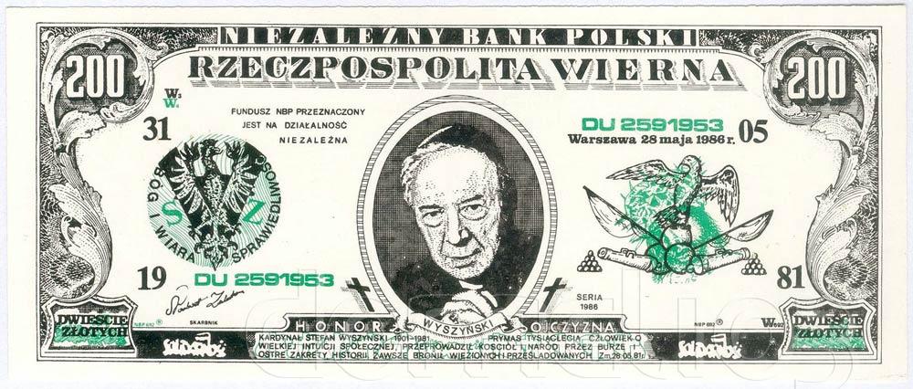 Awers 200 złotych 1986 Stefan Wyszyński Rzeczpospolita Wierna