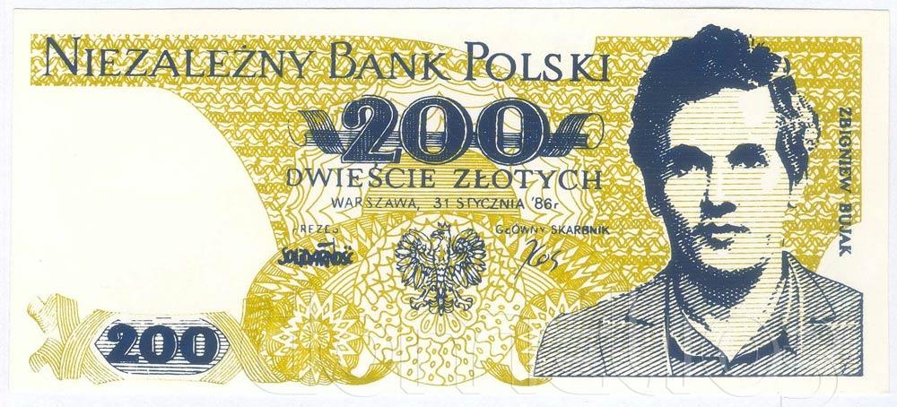 Awers 200 złotych 1986 ze Zbigniewem Bujakiem