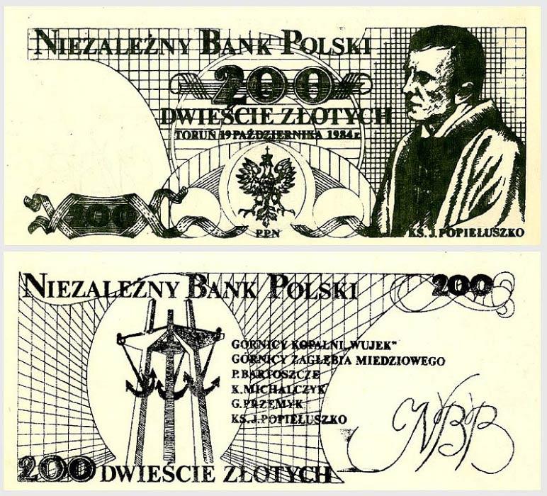 200 złotych Niezależny Bank Polski Jerzy Popiełuszko czarny awers