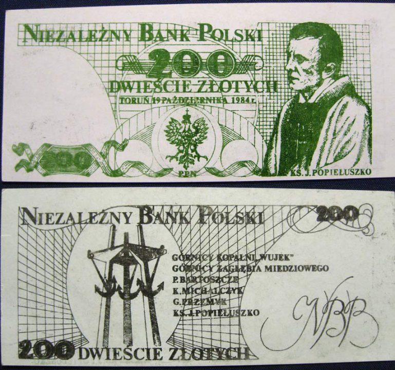 200 złotych Niezależny Bank Polski Jerzy Popiełuszko czarny rewers