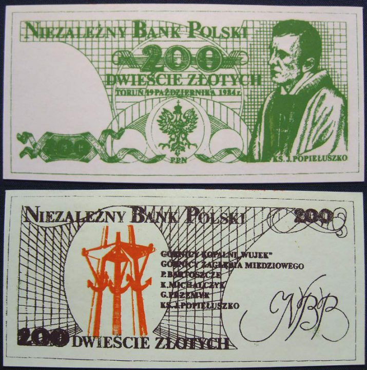 200 złotych Niezależny Bank Polski Jerzy Popiełuszko czerwony rewers