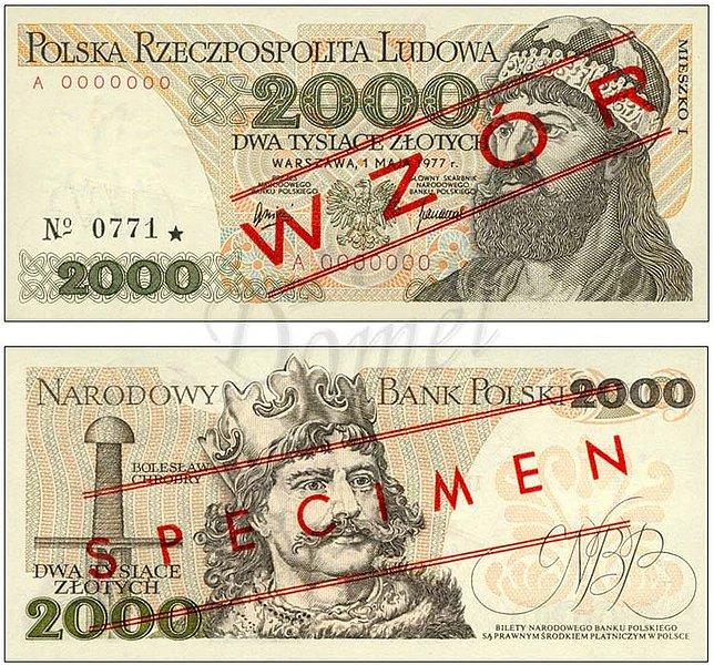 Wzór 2000 złotych 1977 z Mieszko I
