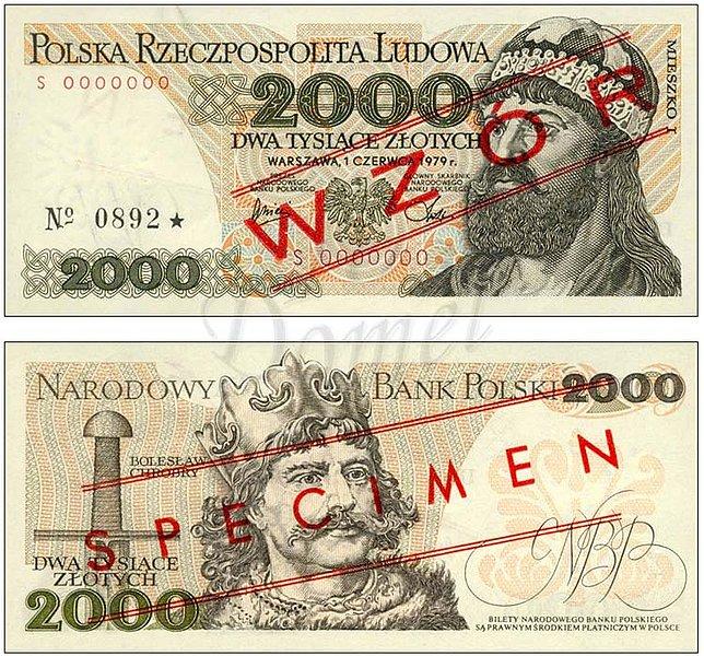 Wzór 2000 złotych 1979 z Mieszko I