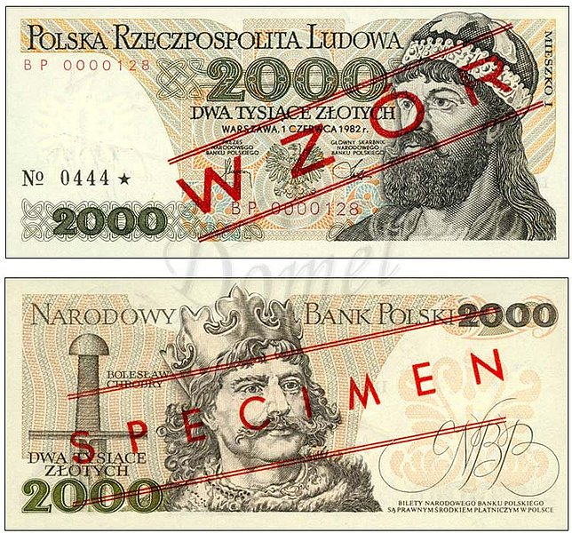 Wzór 2000 złotych 1982 z Mieszko I
