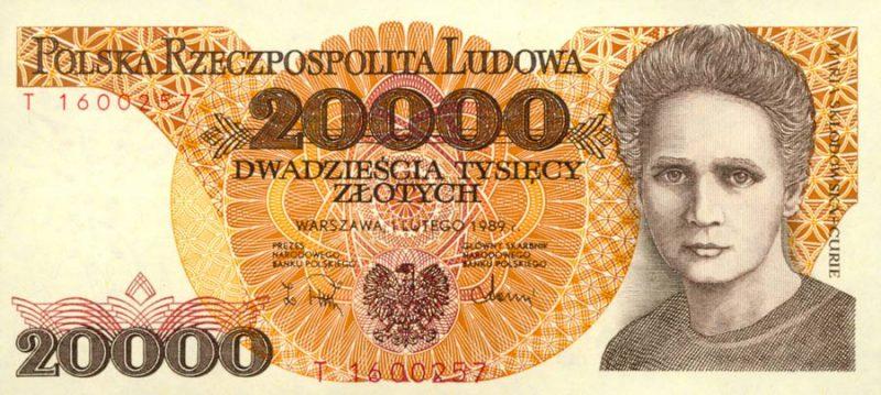 Awers banknotu 20000 złotych 1989 z Marią Skłodowską-Curie