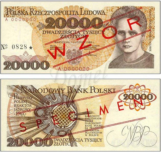 Wzór 20000 złotych 1989 z Marią Skłodowską-Curie