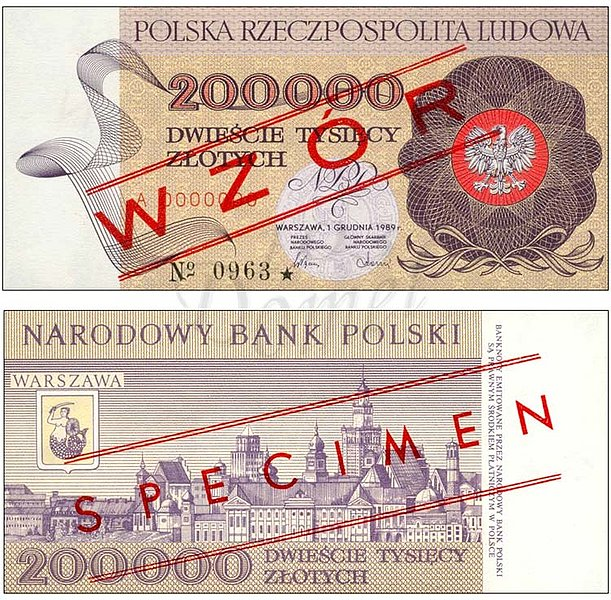 Wzór 200000 złotych 1989