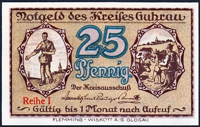 Notgelda 25 fenigów 1920 powiatu Góry z oznaczeniem serii bez numeru