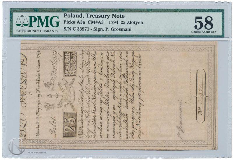 Awers banknotu 25 złotych 1794 w ocenie PMG 58