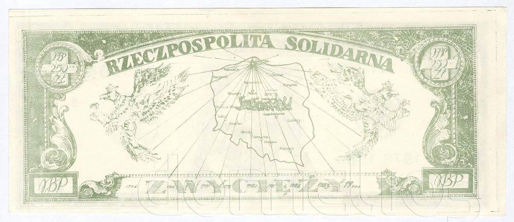 Rewers 250 złotych 1984 Jan Paweł II Rzeczpospolita Solidarna