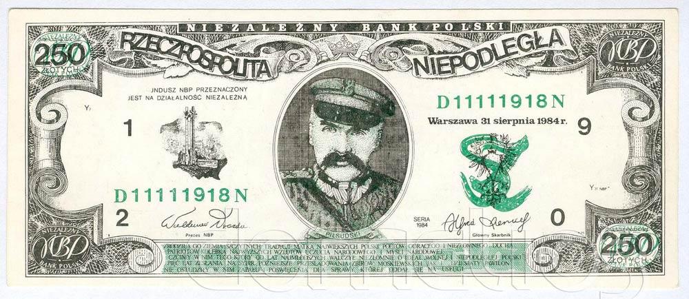Awers 250 złotych 1984 Józef Piłsudski Rzeczpospolita Niepodległa