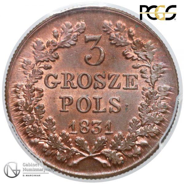 Rewers 3 grosze 1831 w ocenie PCGS MS66 RB