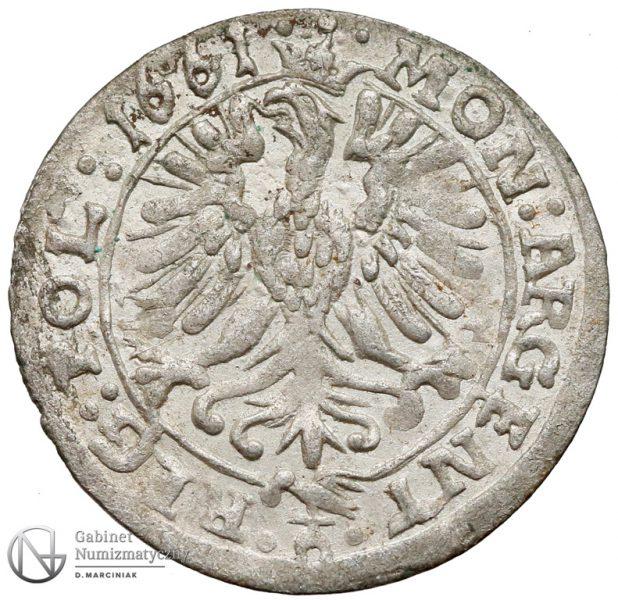 Rewers 3 krucierze 1661 Jana Kazimierza z mennicy opolskiej