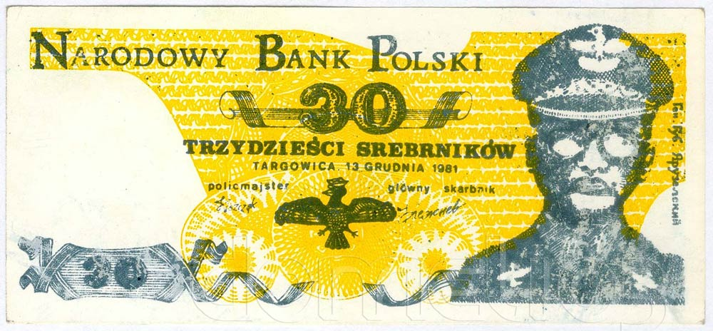 Awers 30 srebrników 1981 odmiana 2 Jaruzelski