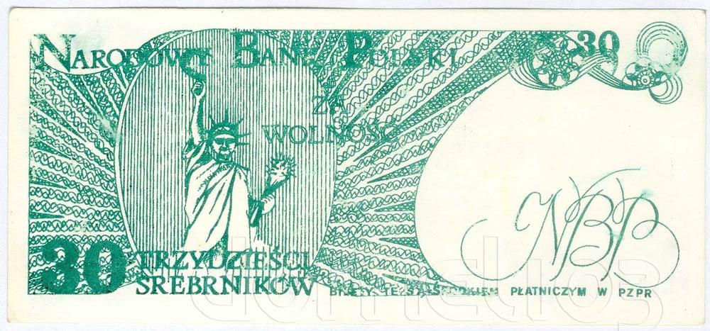 Rewers 30 srebrników 1981 odmiana 2 Statua Wolności