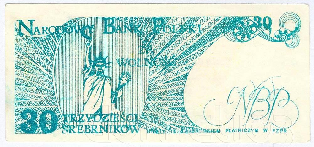 Rewers 30 srebrników 1981 odmiana 3 Statua Wolności