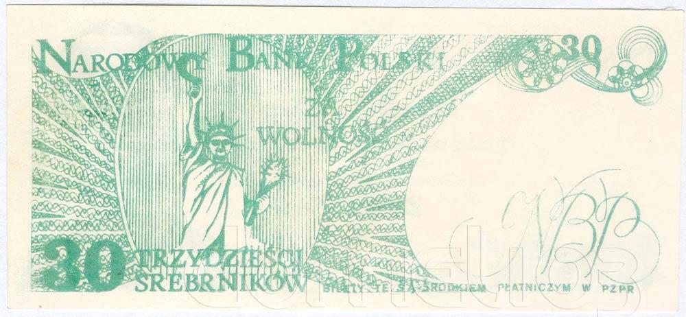 Rewers 30 srebrników 1981 odmiana 4 Statua Wolności