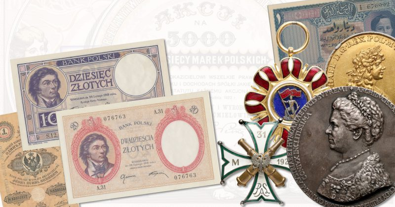 Banknoty notgeldy medale i odznaczenia na 5 Aukcji Numizmatycznej GNDM