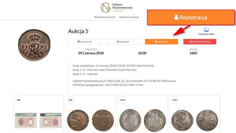 Rejestracja na 5 Aukcję Numizmatyczną GNDM