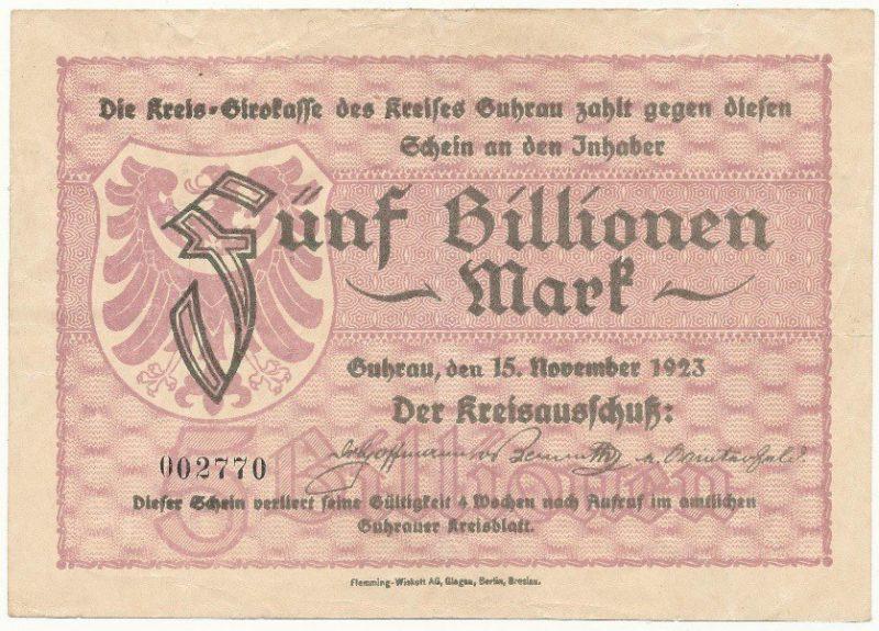 Notgeld 5 bilionów marek 1923 powiatu Góry