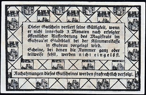 Rewers notgelda 5 fenigów 1917 magistratu w Górze