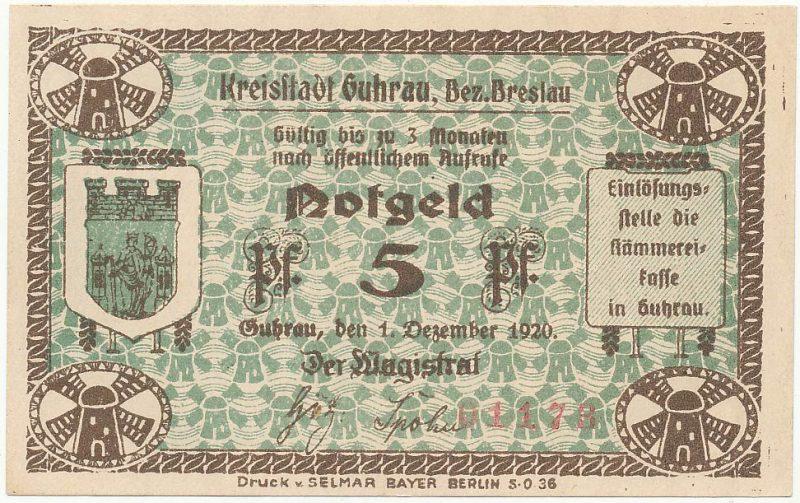 Notgeld 5 fenigów 1920 magistratu w Górze