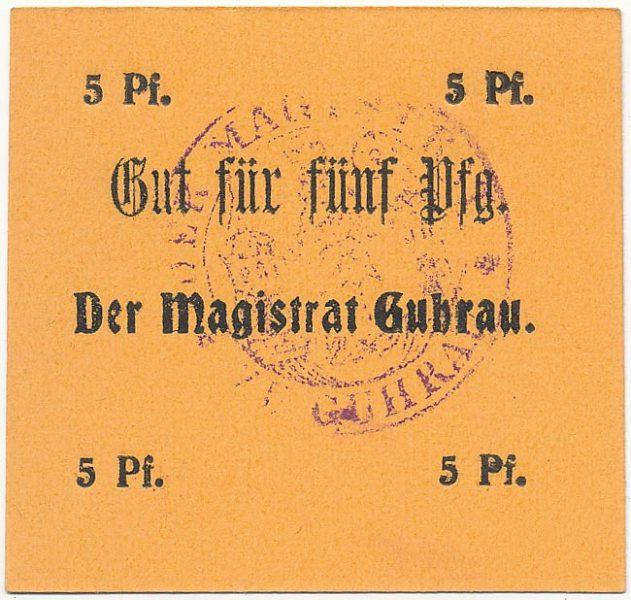 Notgeld 5 fenigów magistratu w Górze ze skrótem Pf