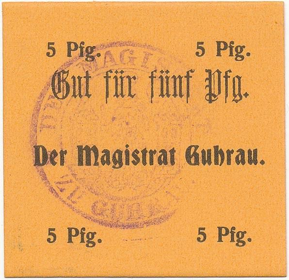 Notgeld 5 fenigów magistratu w Górze ze skrótem Pfg